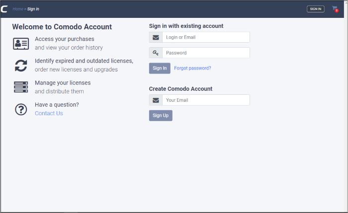 Log-in To Your CAM Account, Comodo Accounts Manager, Comodo