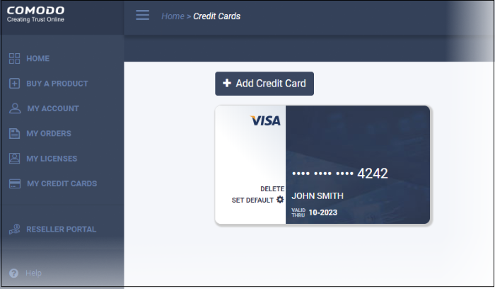 Comodo Accounts Manager v 0 5 - Manage Your Credit Cards