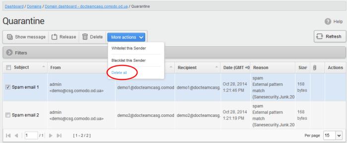 Comodo Antispam Quarantine, Spam Mail, Remove Email From Spam List