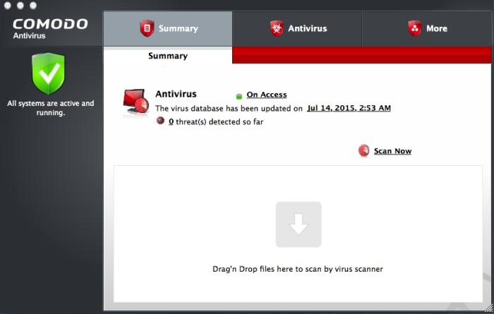 Comodo Free Antivirus Software Summary Screen, Virus