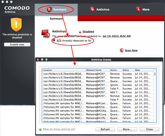Firewall Events, Monitor Action Logs, Antivirus Scan | Comodo