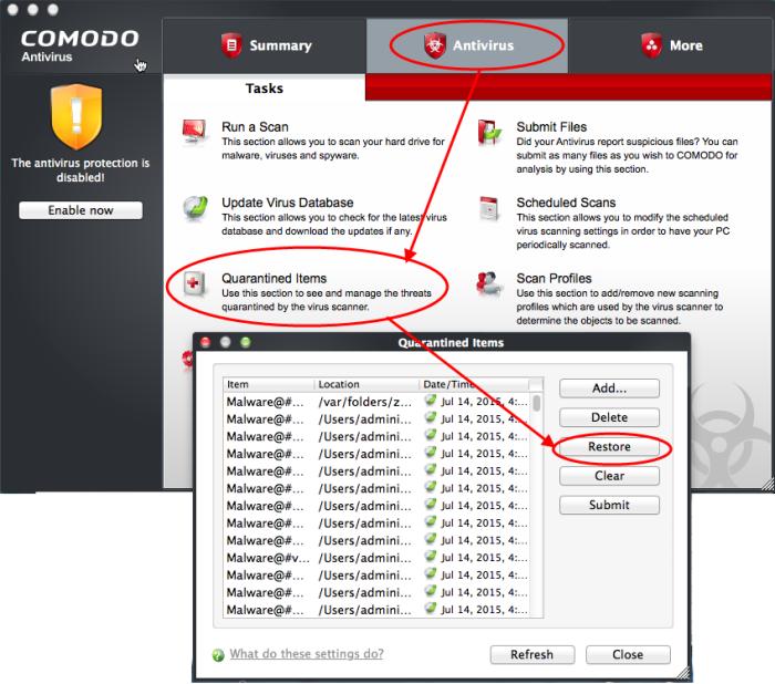 restore files from comodo qurantine