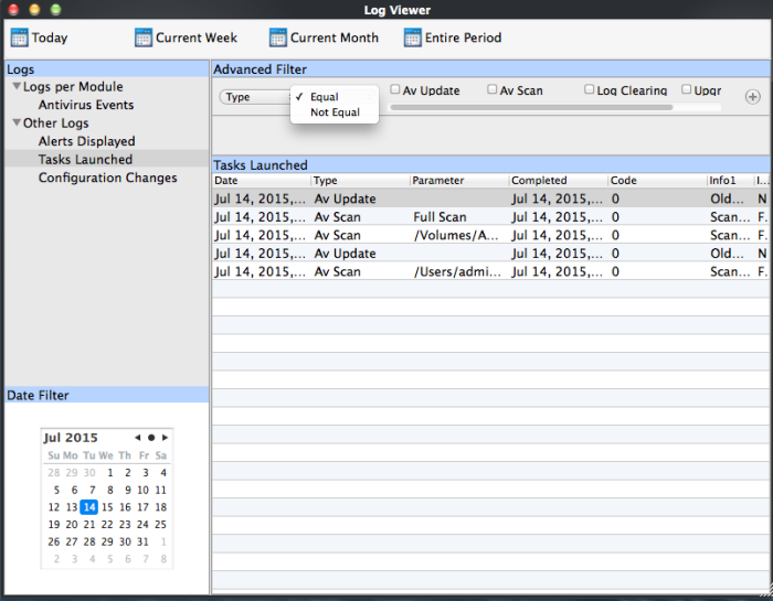 Filter Tasks Launched Logs, Log Monitoring | Comodo Antivirus For
