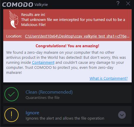 Respond to Alerts, Virus Protection Notification, Comodo