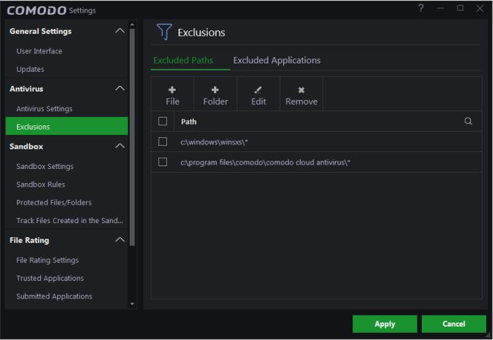 Configure Antivirus Exclusions, PC Antivirus | Comodo Cloud