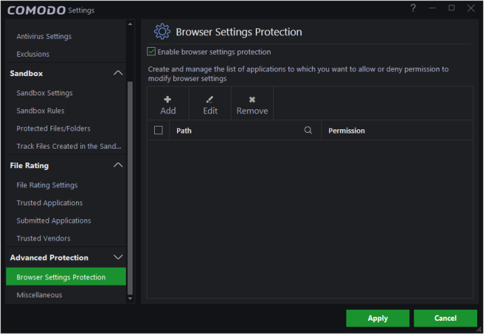 Enable/ Disable Browser Settings Protection, Virus