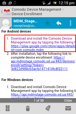 Enroll Android Devices, Comodo Device Manager End User Guide
