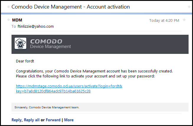 Enrolling your membership comodo device manager end user guide you need to activate your account by clicking the activation link in the mail and setting a password an example mail is shown below ccuart Gallery