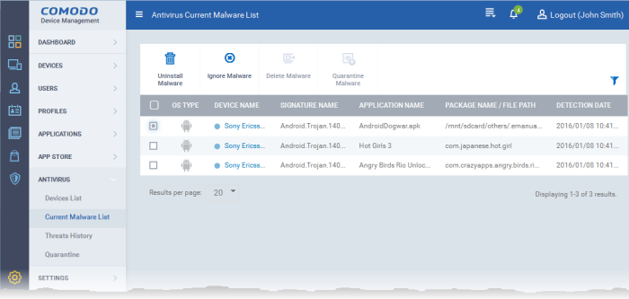 Viewing and Managing Identified Malware, Comodo Device