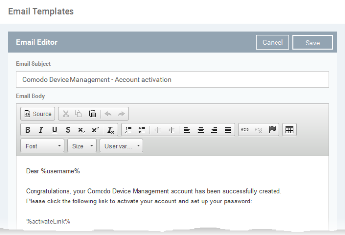 Configure Email Templates Custom Email Templates Comodo Device - How to set up an email template