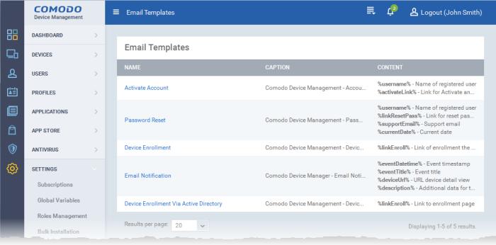 configure email templates custom email templates comodo device