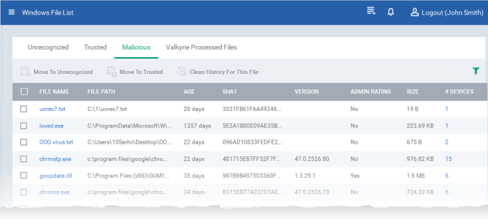 Viewing and Managing Malicious Files, File Management