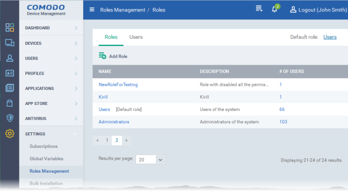 Configure the Role-Based Access Control for Users, Comodo