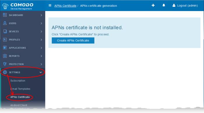 Add Apple Push Notification Certificate, iOS SSL Certificate, Comodo ...