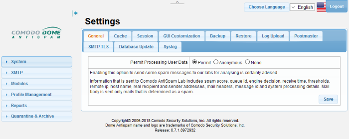 Configure System Settings, Network Security Settings, Comodo Dome