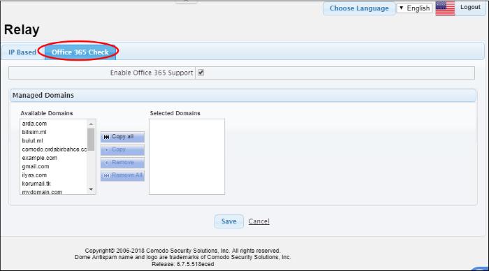 Configure Comodo Dome Antispam Settings, Comodo Hosted Dome