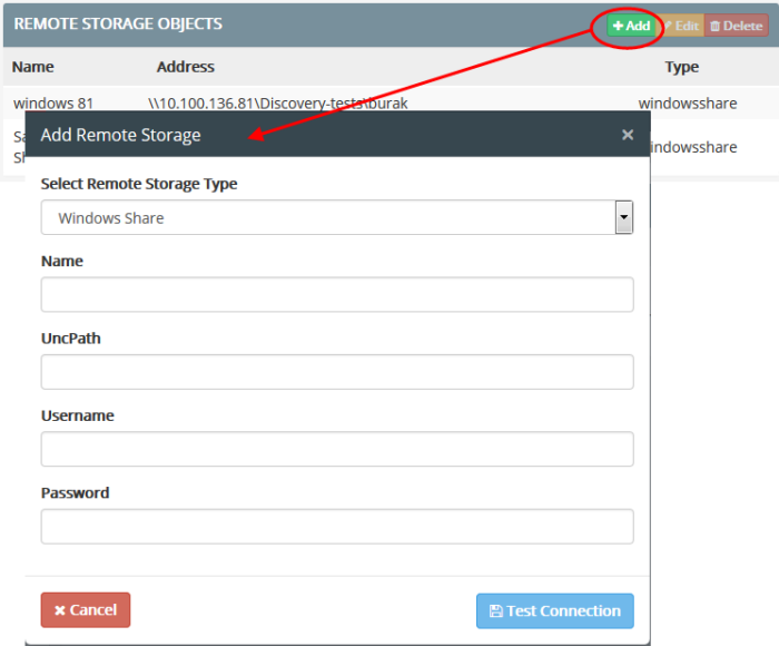 Add A User Defined Remote Storage Object, Remote Data