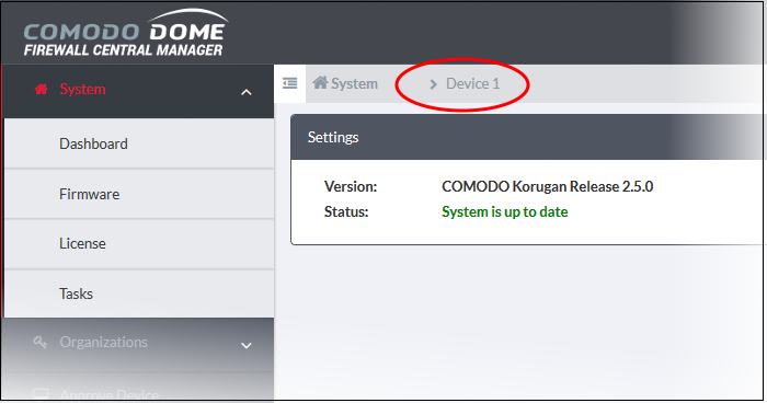 Update Firmware Version, Firewall Device Update   Comodo