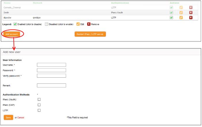 Configure IPSec/L2TP Users, IPsec VPN Connection   Comodo
