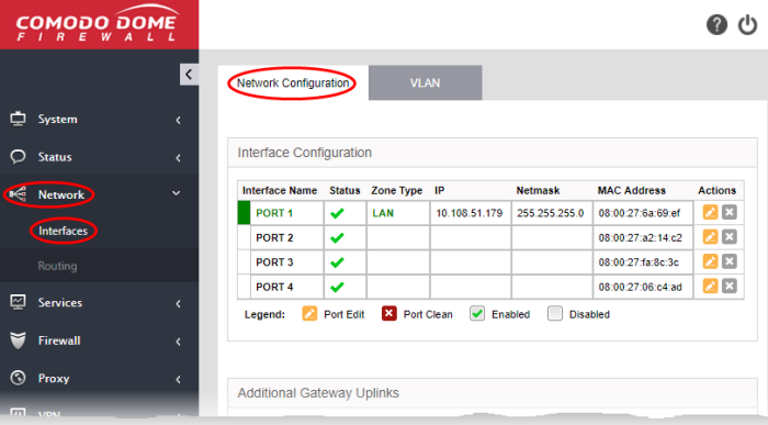 Step 3 - Configure the Network Interfaces, Network Firewall