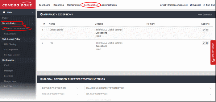 Configure Advanced Threat Protection Settings, Network Security