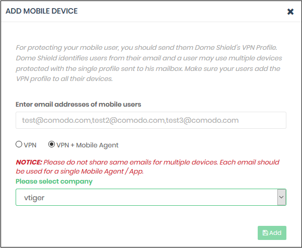 Add Mobile Devices to Dome Shield, Computer Network Security, Comodo