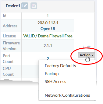 Quick Actions on a Firewall Device, Network Firewall