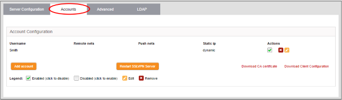 Manage SSL VPN Client Accounts, Virtual Private Network