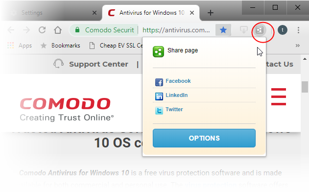 Comodo the Share Page Button, Social Networking Sites