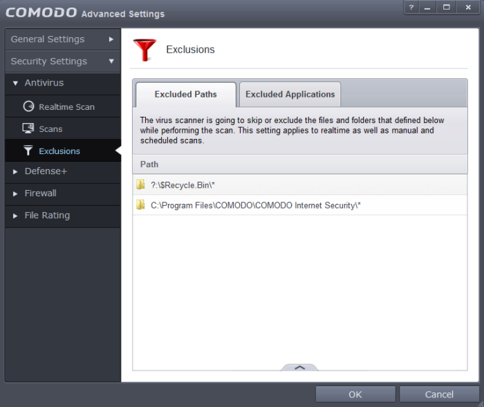 how to add folder to antivirus exclusion list