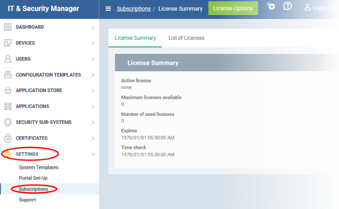 View And Manage Licenses Comodo It And Security Manager Device Manager