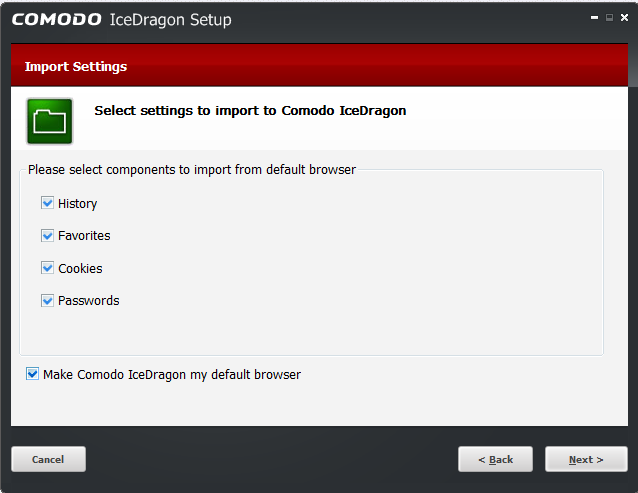 the current default browser in your computer to comodo icedragon