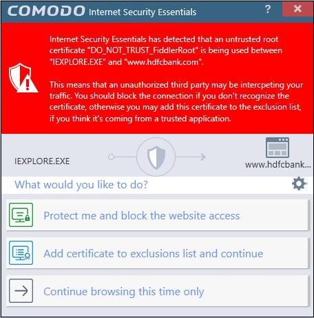 Comodo Internet Security Essentials - Understanding Alerts