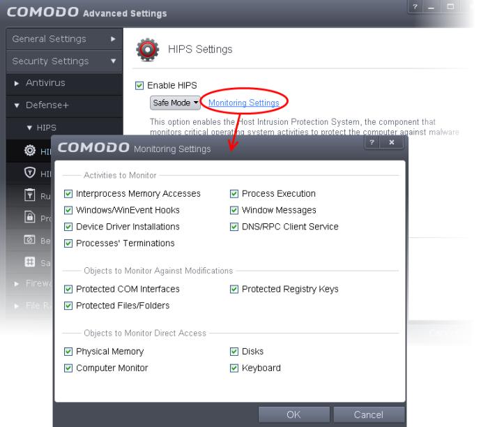 HIPS Behaviour Settings, Comodo Internet Security | Comodo