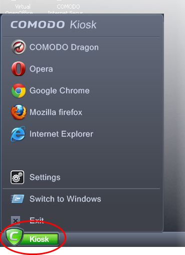 Comodo Sandbox Main Interface, Kiosk Software,Antivirus Software