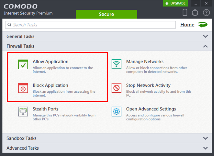 block application from accessing internet