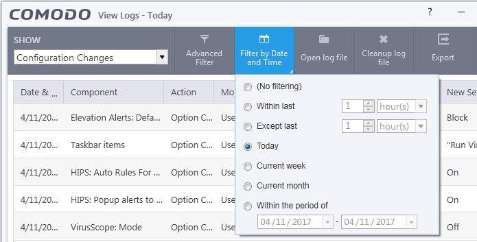 Filter Configuration Changes Logs, Configuration Management