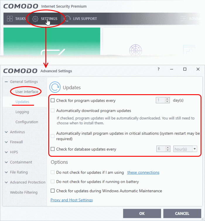 Comodo Switch Off Automatic Antivirus And Software Updates
