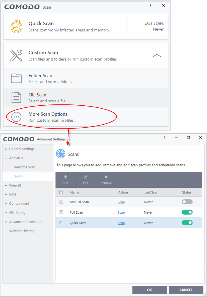 Create, Schedule And Run A Custom Scan, Scan For Virus