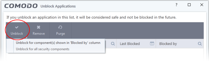 Manage Blocked Items, Blocked Applications, Comodo Internet