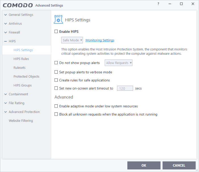 HIPS Settings, Comodo Internet Security | Internet