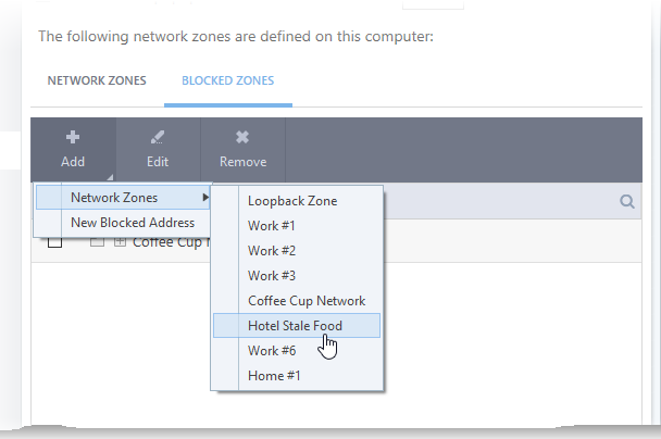 Comodo Internet Security Blocked Zones, Network Connection