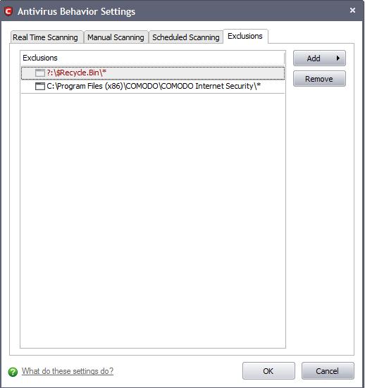 dragon antivirus exclusions