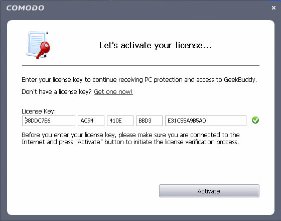 Activating Comodo Internet Security Subscription Comodo