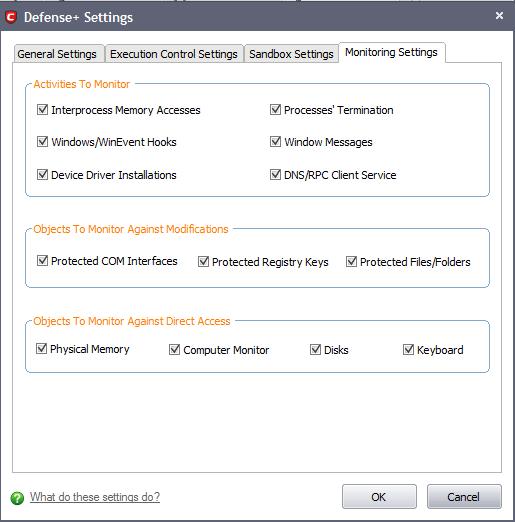Monitoring Settings | Comodo Internet Security | Comodo Internet