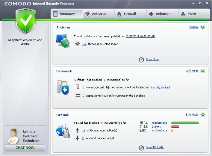 Free Internet Security >> Comodo Internet Security Antivirus Protection Firewall Software