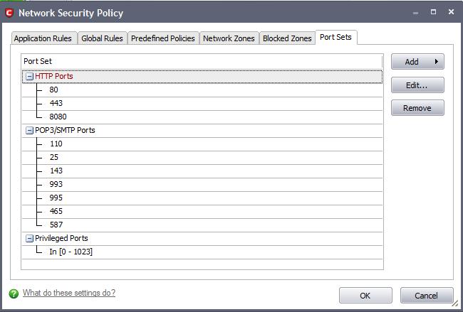 Port Sets | Comodo Internet Security | Comodo Internet