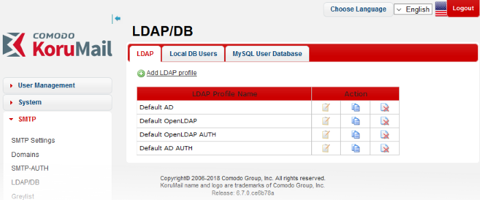 LDAP/Local DB/My SQL User Database, SMTP Server Settings