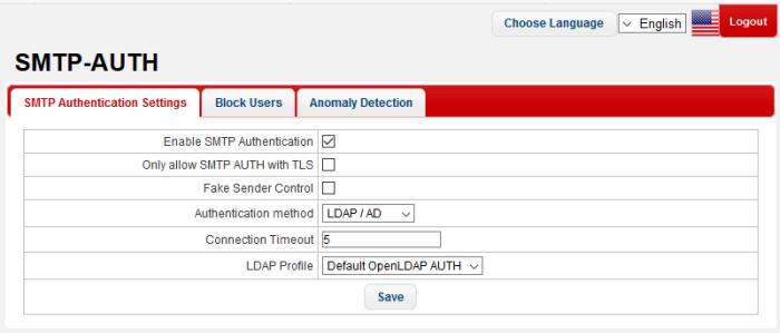 SMTP Authentication Settings, SMTP Server Authentication