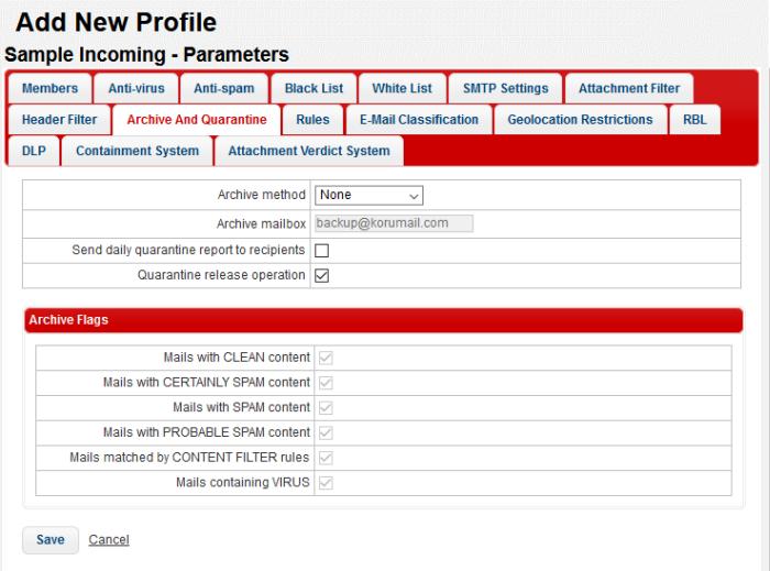 Add And Configure A New Profile, Comodo KoruMail, Comodo